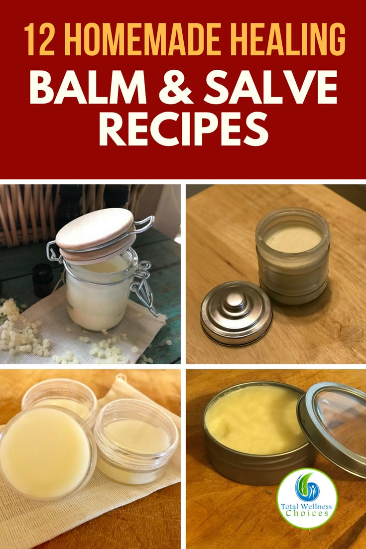 Homemade healing balms and salves - 12 easy recipes for different conditions! #balmsandsalves #healingbalms #homemadebalms #salves #naturalremedies #homeremedies #naturaltreatments #lipbalm  #headachebalm #painreliefbalm #Arnicasalve #handsalve