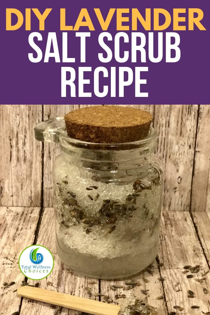 DIY salt scrub recipe with Epsom salt and lavender. This body scrub not only makes your skin smooth and radiant, but it is also very relaxing and great for de-stressing your body especially during this holiday season. Makes a great gift too. #saltscrub #bodyscrub #diysaltscrub #homemadesaltscrub #Epsomsalt #lavender #diyskincare #essentialoils #essentialoildiy #diygiftideas #homemadegifts