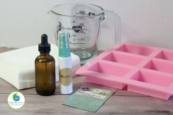Sugar scrub soap cubes ingredients and tools