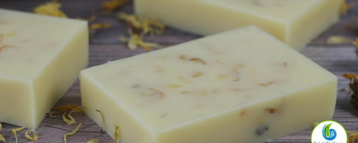 Homemade calendula solid lotion bar